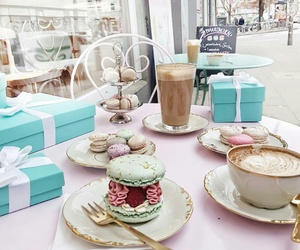 coffee, food, and ‎macarons image