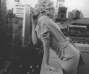Marilyn Monroe, black and white, and smoke image