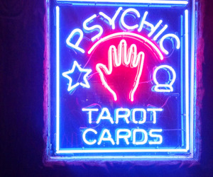 neon, tarot cards, and psychic image
