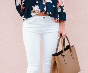 white, flowers, and outfit image