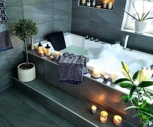 bath, candle, and home image