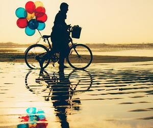 balloons, bike, and beach image