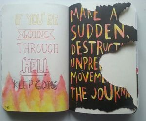 wreck this journal, diary, and fire image
