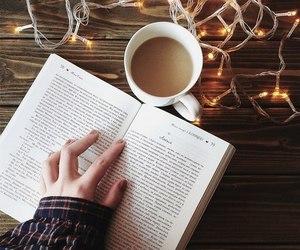 book, coffee, and lights image