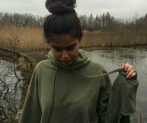 girl, green, and sweater image