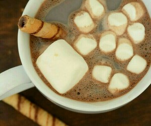chocolate, Hot, and marshmallow image