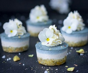 blue, flower, and food image