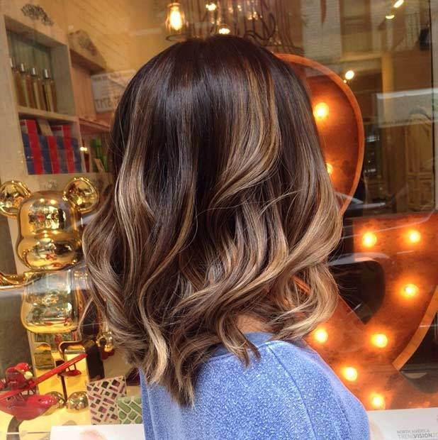 Brunette Balayage Chocolate Long Bob Hairstyle