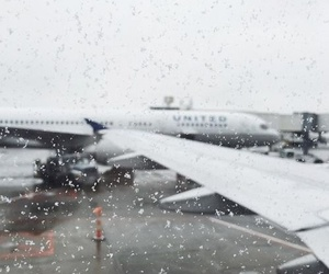 airplane, travel, and snow image