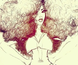 art, curly, and hair image