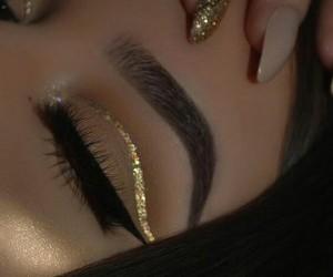 eyes, gold, and fashion image