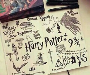 harry potter, drawing, and book image