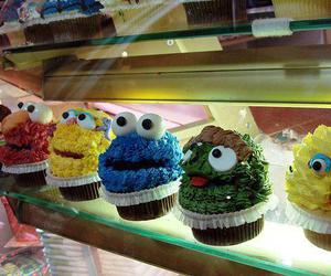 cupcake, food, and cookie monster image