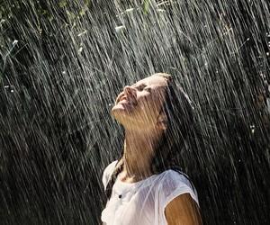 rain, girl, and smile image