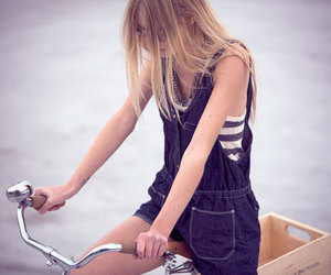 girl, blonde, and bike image