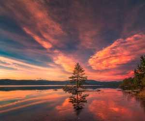 clouds, horizon, and landscape image
