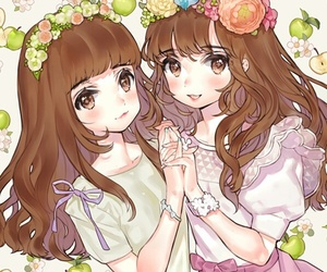 twins, anime, and flowers image