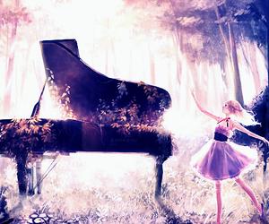 piano, anime, and girl image