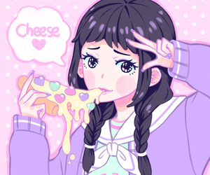 kawaii, anime, and pizza image