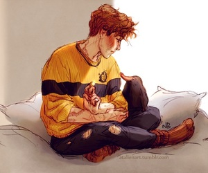 newt scamander, harry potter, and hufflepuff image