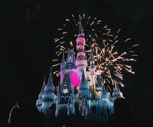 castillo, fuegos artificiales, and disney image