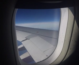 airplane, blue, and fly image