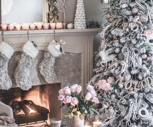 candles, christmas, and fireplace image