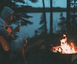 guitar, fire, and forest image