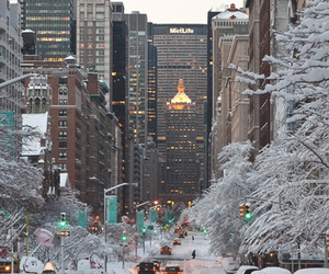 autumn, city, and snow image