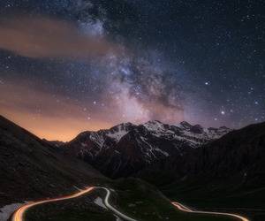 dawn, galaxy, and landscapes image