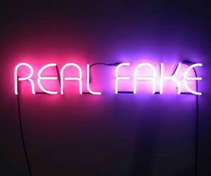 fake, real, and neon signs image