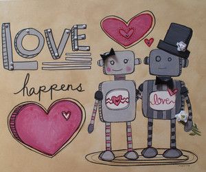 love, pink, and robot image