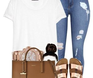 bun, ripped jeans, and sandals image