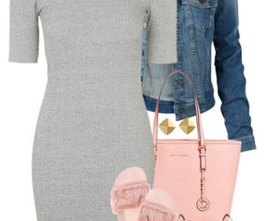 jeans jacket, outfit, and pink image