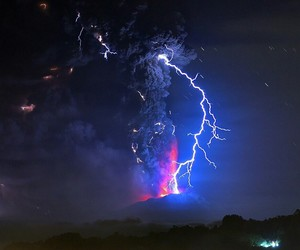 volcano, blue, and storm image
