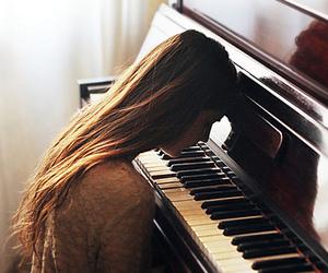 music, piano, and sad image