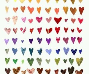 hearts, heart, and rainbow image