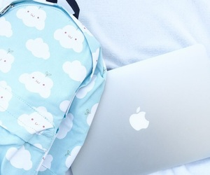 blue, backpack, and baby blue image