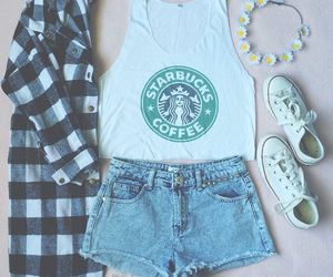 starbucks, outfit, and converse image