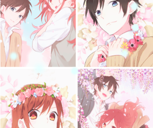 boy, flowers, and girl image