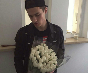 boy, flowers, and guy image