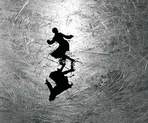 ice skating, photography, and b&w image