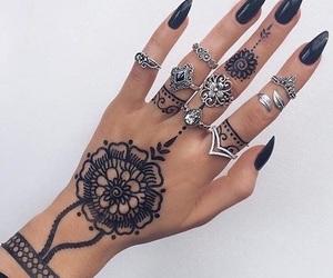nails, black, and henna image