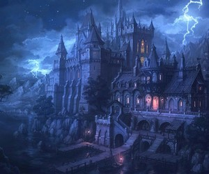 night, castle, and fantasy image