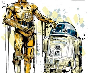art, c3po, and r2d2 image