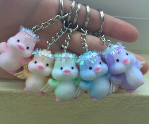 keychains, penguins, and rainbow image