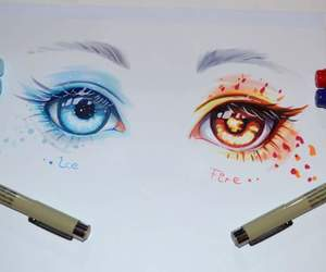 drawing, eyes, and fire image