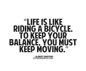 Albert Einstein, balance, and bicycle image