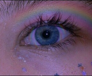 rainbow, blue, and eye image