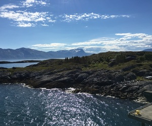 mountians, norway, and ocean image